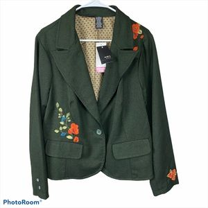 MixIt Woman Wool Green Embroidered Blazer - 18W